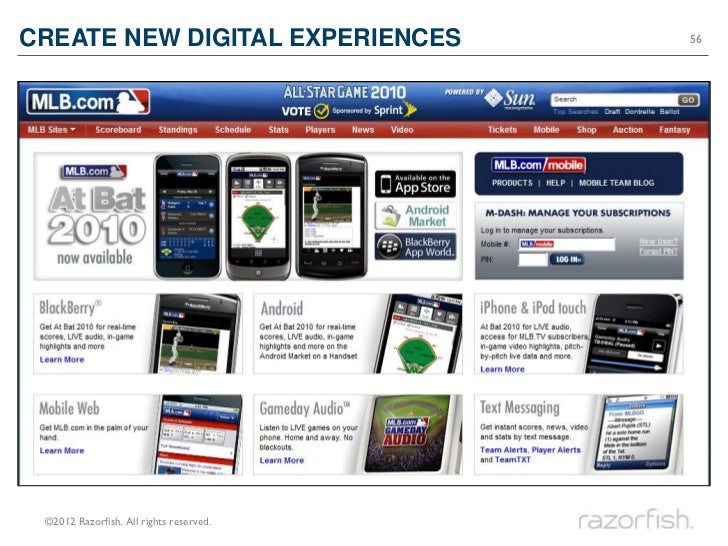 CREATE NEW DIGITAL EXPERIENCES           56 ©2012 Razorfish. All rights reserved.