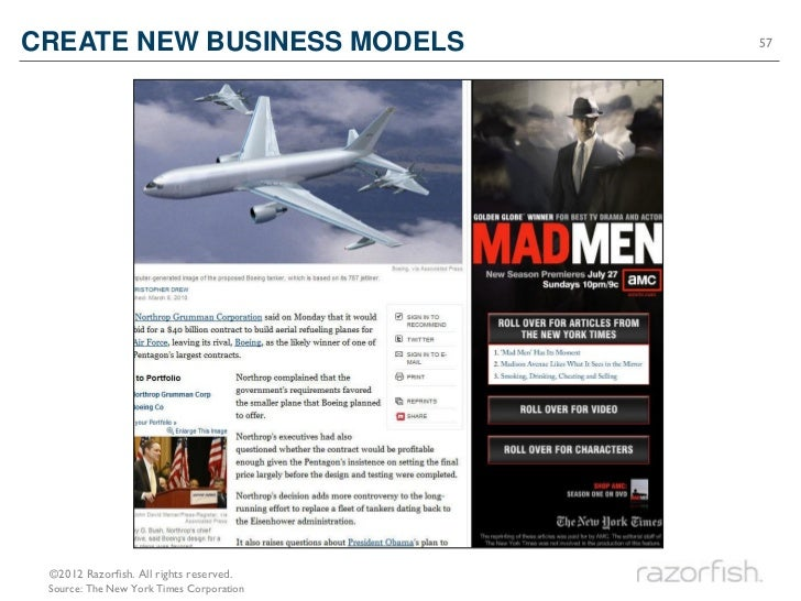 CREATE NEW BUSINESS MODELS                57 ©2012 Razorfish. All rights reserved. Source: The New York Times Corporation