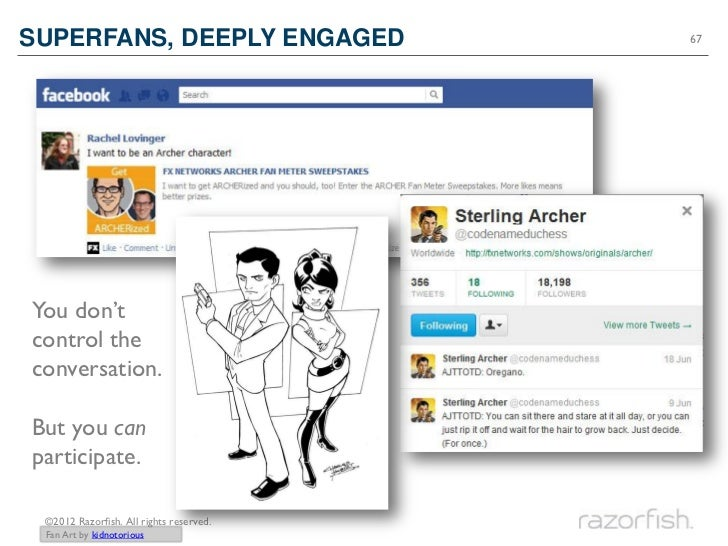 SUPERFANS, DEEPLY ENGAGED                67You don'tcontrol theconversation.But you canparticipate. ©2012 Razorfish. All r...
