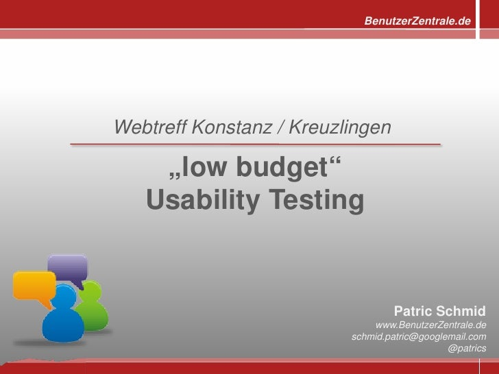 "BenutzerZentrale.de     Webtreff Konstanz / Kreuzlingen      ""low budget""    Usability Testing                            ..."
