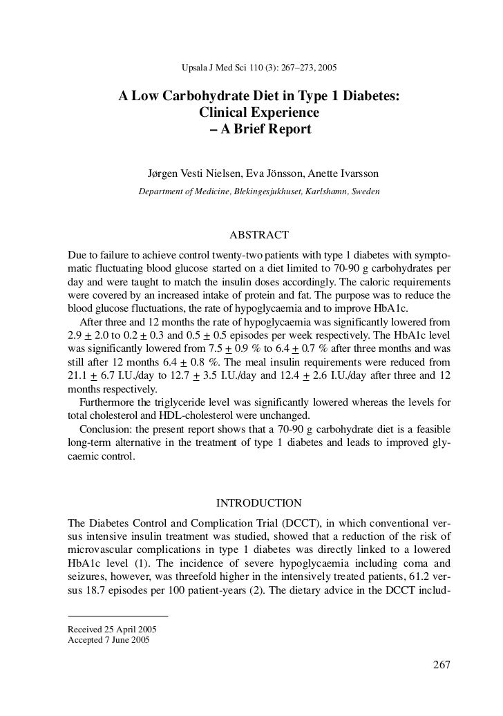 Upsala J Med Sci 110 (3): 267–273, 2005            A Low Carbohydrate Diet in Type 1 Diabetes:                       Clini...