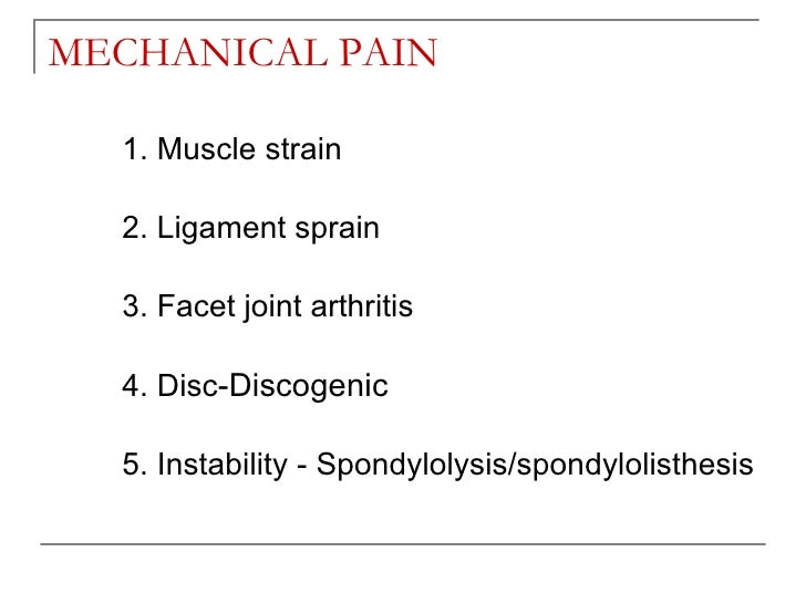 mechanical low back pain pdf