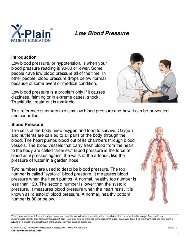 Low Blood Pressure Symptoms Causes Treatments