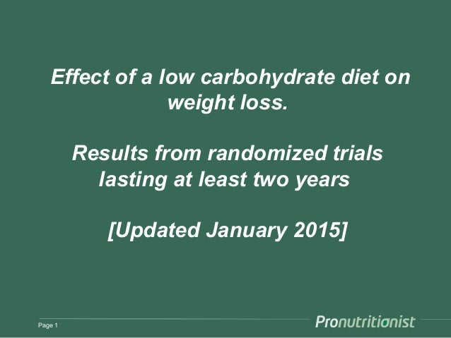 Effect of a low carbohydrate diet on weight loss. Results from randomized trials lasting at least two years [Updated Janua...