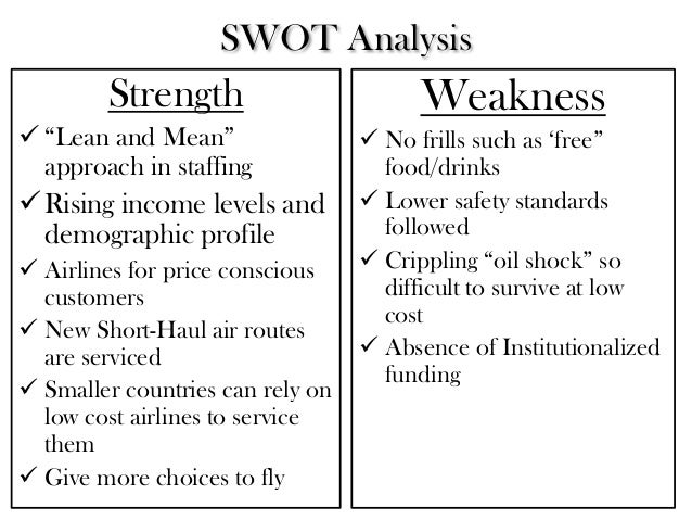 swot for indigo airlines Studies subject: strategic management topic: indigo airlines  swot  analysis of the company will help us understand the current.
