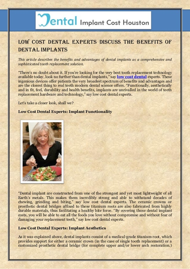 low cost dental experts discuss the benefits of dental
