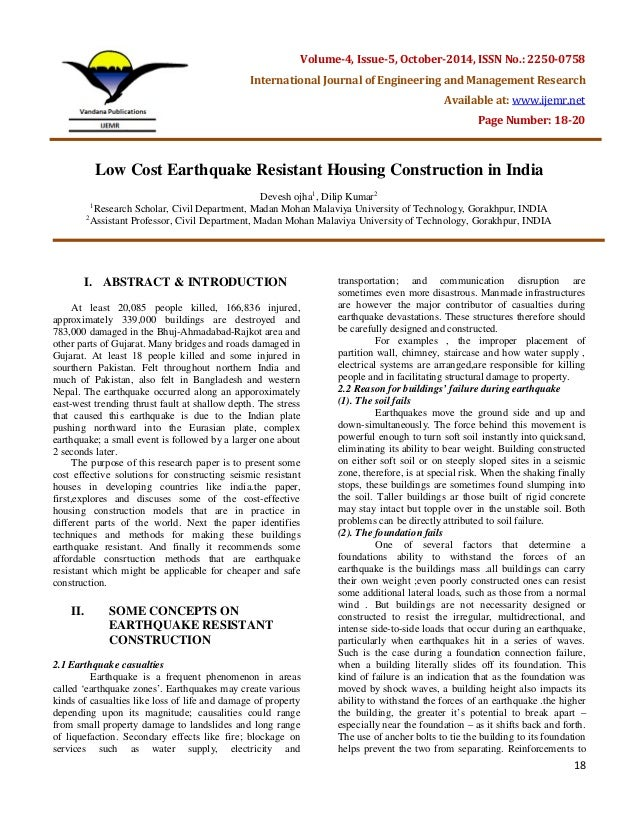 Low cost earthquake resistant housing