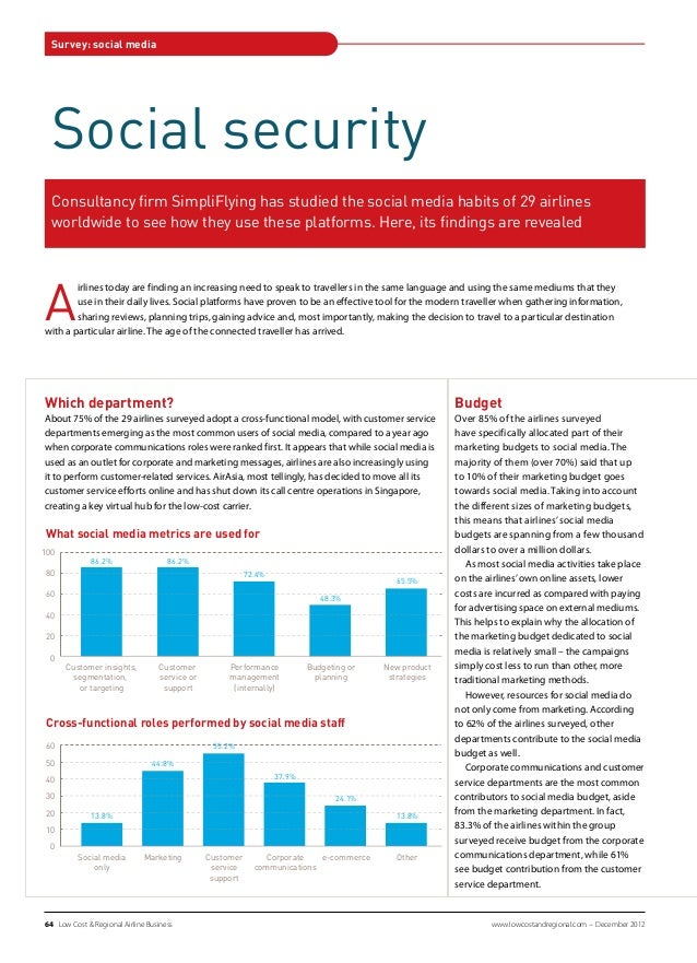 Survey: social media  Social security  Consultancy firm SimpliFlying has studied the social media habits of 29 airlines  w...