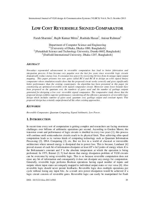 International Journal of VLSI design & Communication Systems (VLSICS) Vol.4, No.5, October 2013  LOW COST REVERSIBLE SIGNE...