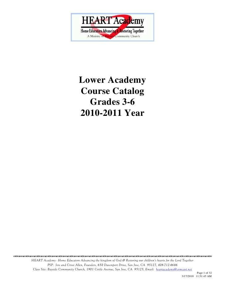 Lower Academy                                        Course Catalog                                          Grades 3-6   ...