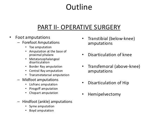 Lower Limb Amputations (Part I)