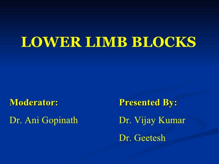 LOWER   LIMB BLOCKS Moderator: Presented By: Dr. Ani Gopinath Dr. Vijay Kumar Dr. Geetesh
