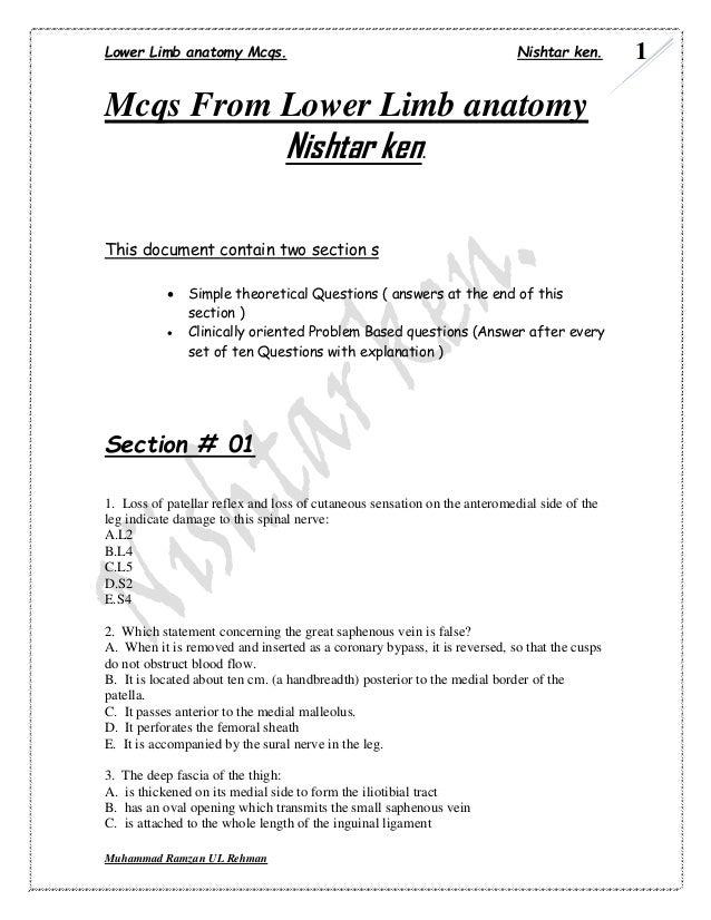 Lower Limb anatomy Mcqs. Nishtar ken.  Muhammad Ramzan UL Rehman  1  Mcqs From Lower Limb anatomy  Nishtar ken.  This docu...