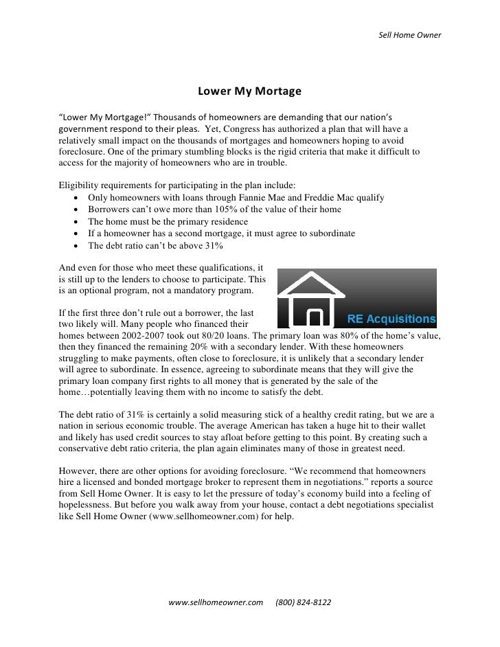 """Sell Home Owner                                           Lower My Mortage """"Lower My Mortgage!"""" Thousands of homeowners ar..."""