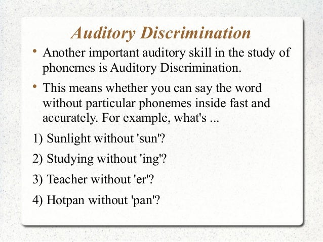 Upper Primary A Auditory Discrimination