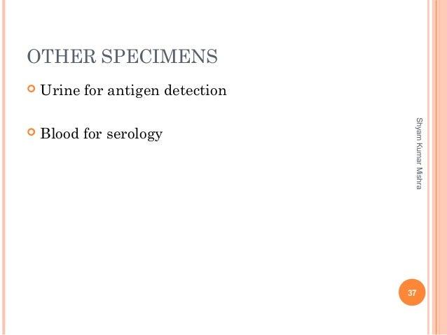 OTHER SPECIMENS  Urine for antigen detection  Blood for serology 37 ShyamKumarMishra