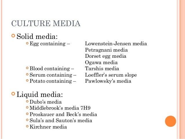 CULTURE MEDIA  Solid media:  Egg containing – Lowenstein-Jensen media Petragnani media Dorset egg media Ogawa media  Bl...