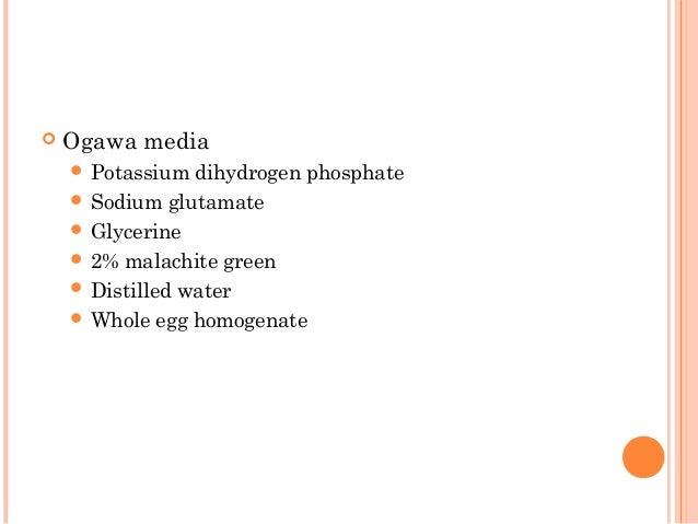  Ogawa media  Potassium dihydrogen phosphate  Sodium glutamate  Glycerine  2% malachite green  Distilled water  Who...