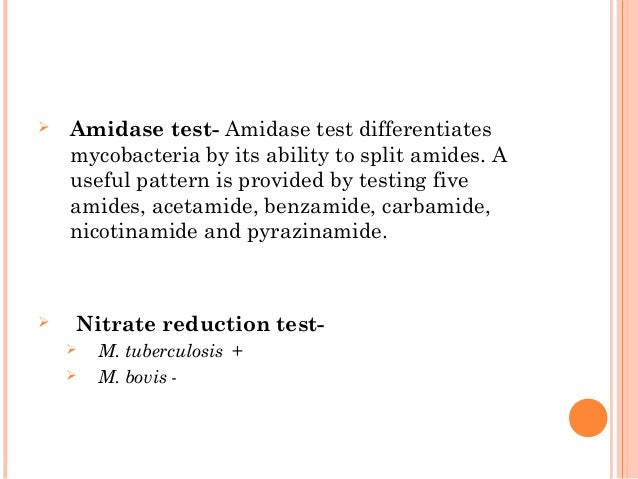  Amidase test- Amidase test differentiates mycobacteria by its ability to split amides. A useful pattern is provided by t...