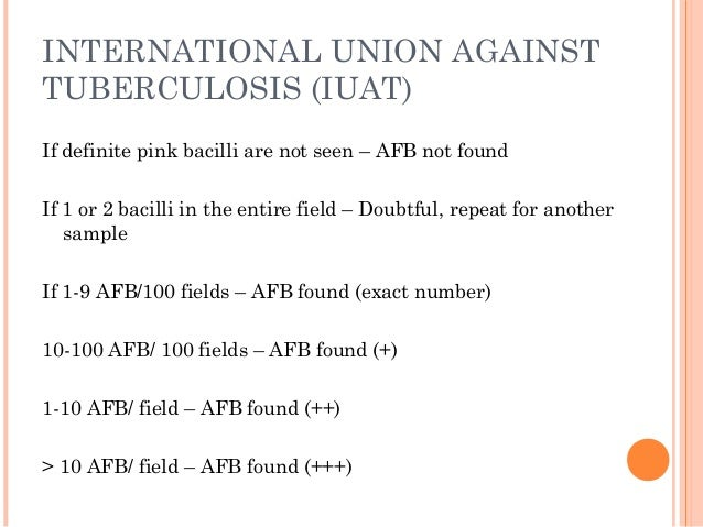 INTERNATIONAL UNION AGAINST TUBERCULOSIS (IUAT) If definite pink bacilli are not seen – AFB not found If 1 or 2 bacilli in...