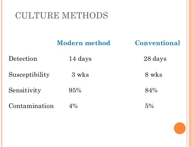 CULTURE METHODS Modern method Conventional Detection 14 days 28 days Susceptibility 3 wks 8 wks Sensitivity 95% 84% Contam...