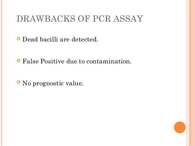 DRAWBACKS OF PCR ASSAY  Dead bacilli are detected.  False Positive due to contamination.  No prognostic value.