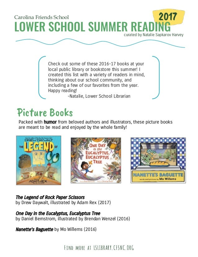 curated by Natalie Sapkarov Harvey Carolina Friends School 2017 Check out some of these 2016-17 books at your local public...