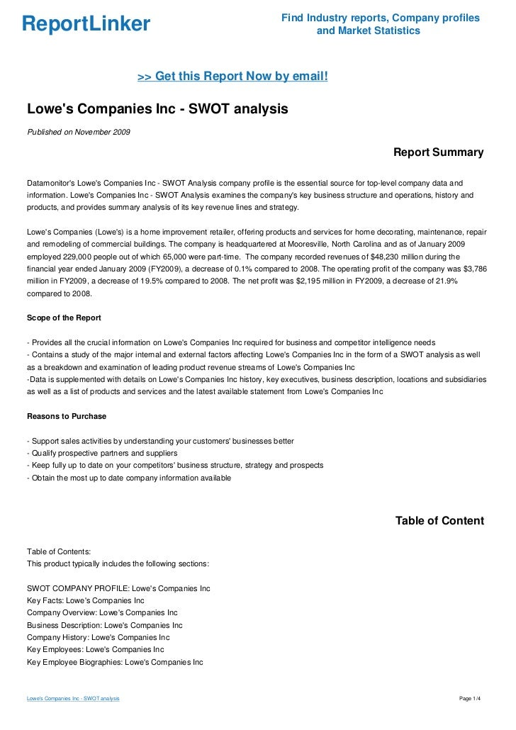 lowes swot analysis 2018