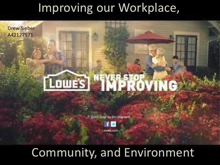 Improving our Workplace,Drew SieberA42127571         Community, and Environment