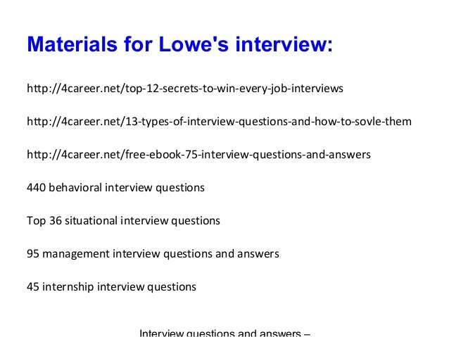 Lowe S Interview Questions And Answers