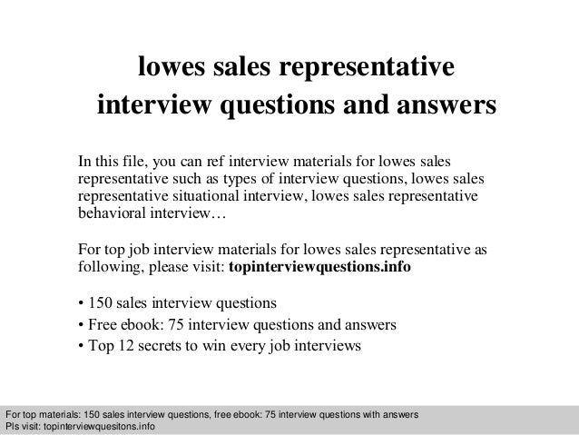 Lowes sales representative interview questions and answers