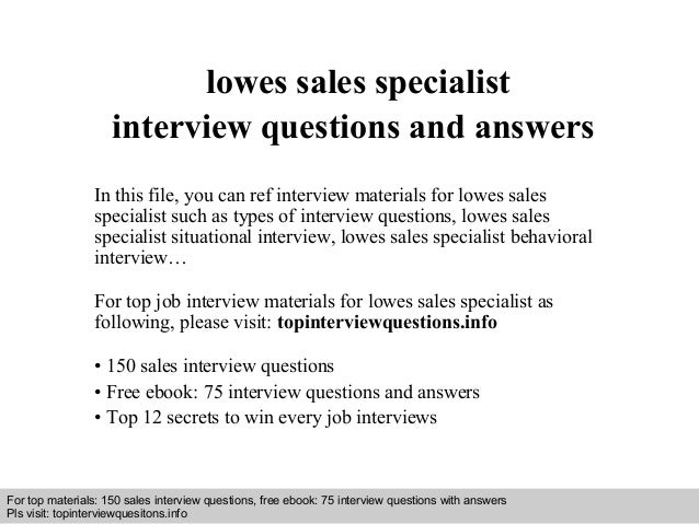 Interview Questions And Answers U2013 Free Download/ Pdf And Ppt File Lowes  Sales Specialist Interview ...