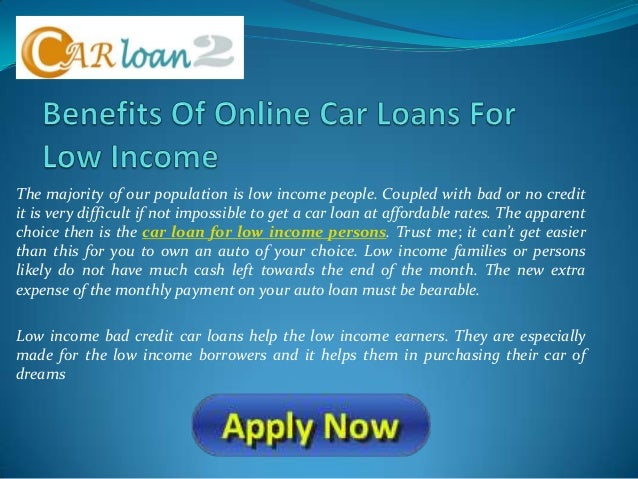 Low Income Auto Loans For Bad Credit