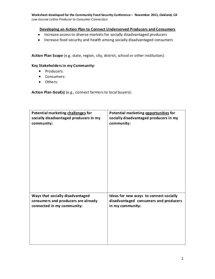 Low Income Latino Producer to Consumer ConnectionWorksheet – Producer and Consumer Worksheet