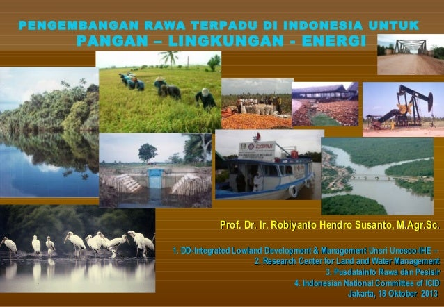PENGEMBANGAN RAWA TERPADU DI INDONESIA UNTUK  PANGAN – LINGKUNGAN - ENERGI  Prof. Dr. Ir. Robiyanto Hendro Susanto, M.Agr....