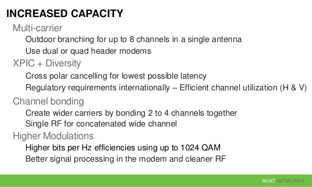 AVIAT NETWORKS INCREASED CAPACITY Multi-carrier Outdoor branching for up to 8 channels in a single antenna Use dual or qua...