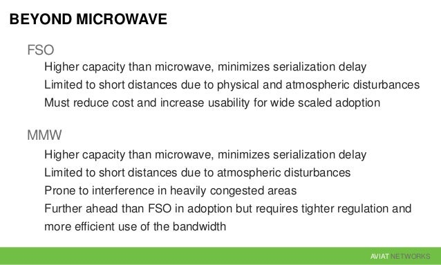 AVIAT NETWORKS BEYOND MICROWAVE FSO Higher capacity than microwave, minimizes serialization delay Limited to short distanc...