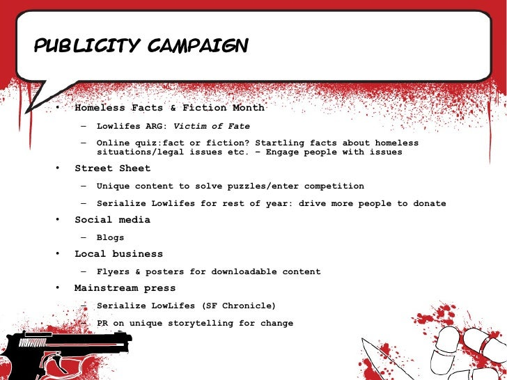 Publicity campaign    •   Homeless Facts & Fiction Month       –   Lowlifes ARG: Victim of Fate       –   Online quiz:fact...