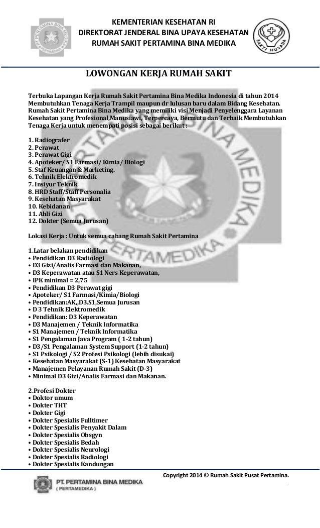 KEMENTERIAN KESEHATAN RI  DIREKTORAT JENDERAL BINA UPAYA KESEHATAN  RUMAH SAKIT PERTAMINA BINA MEDIKA  Copyright 2014 © Ru...