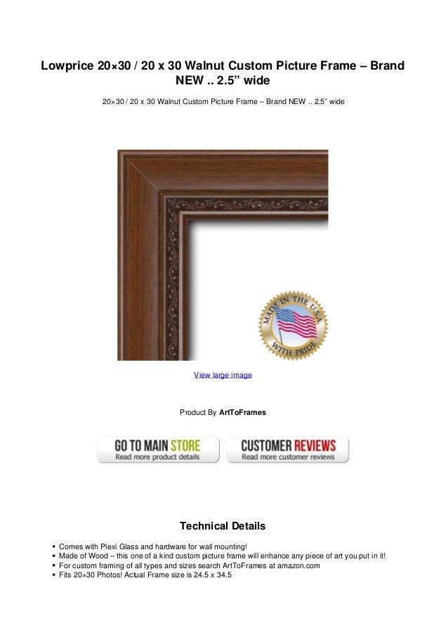 Lowprice 20x30 20 X 30 Walnut Custom Picture Frame Brand New 2