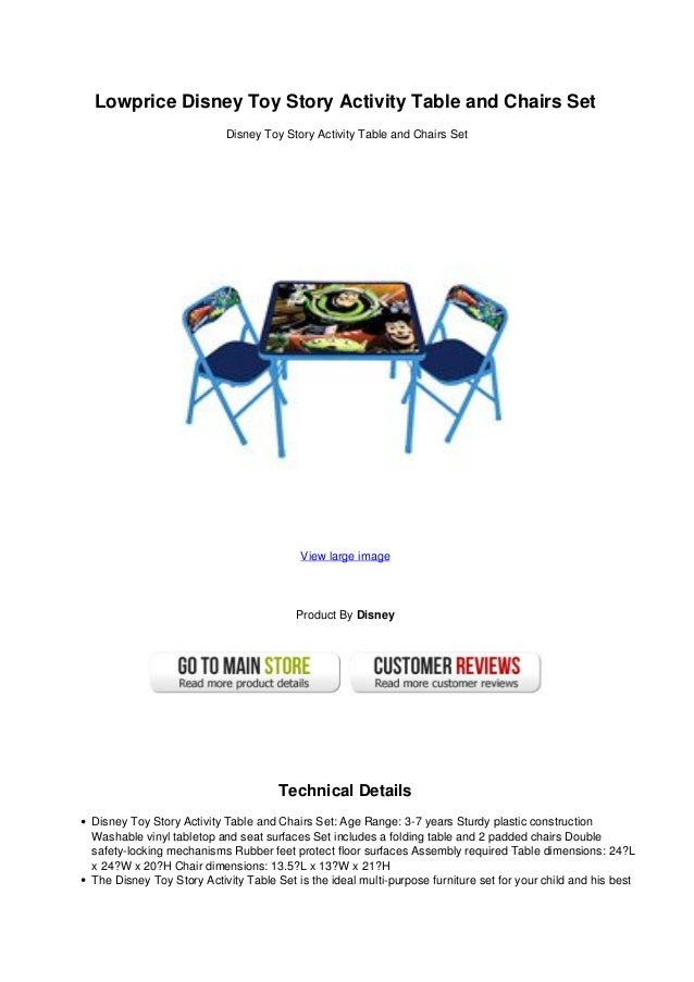 Lowprice disney toy story activity table and chairs set