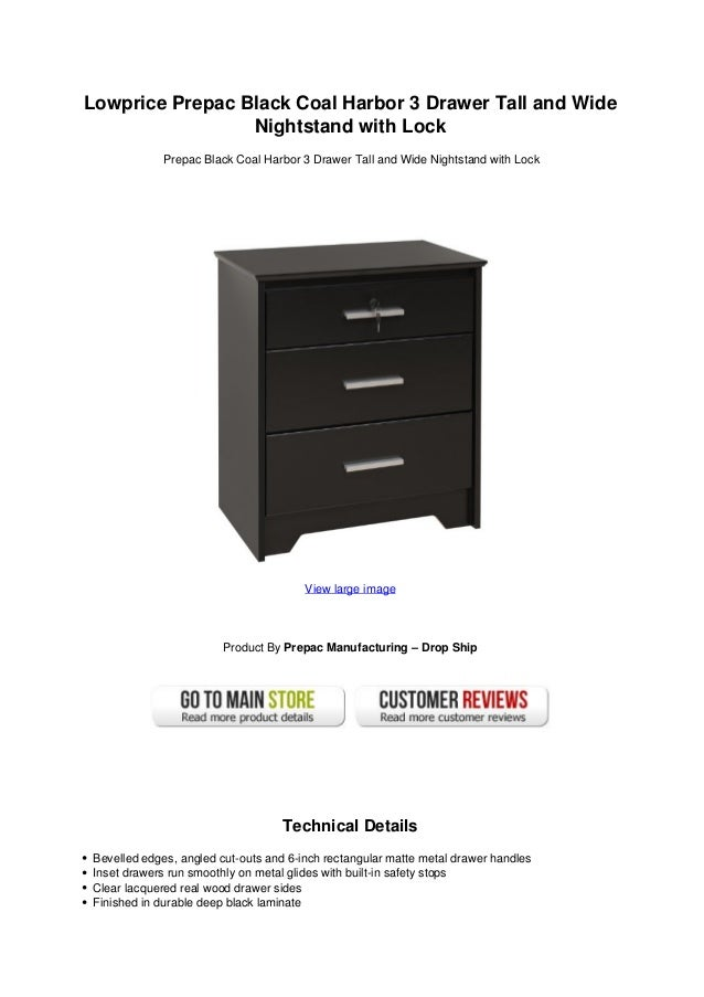 Lowprice Prepac Black Coal Harbor 3 Drawer Tall And Wide