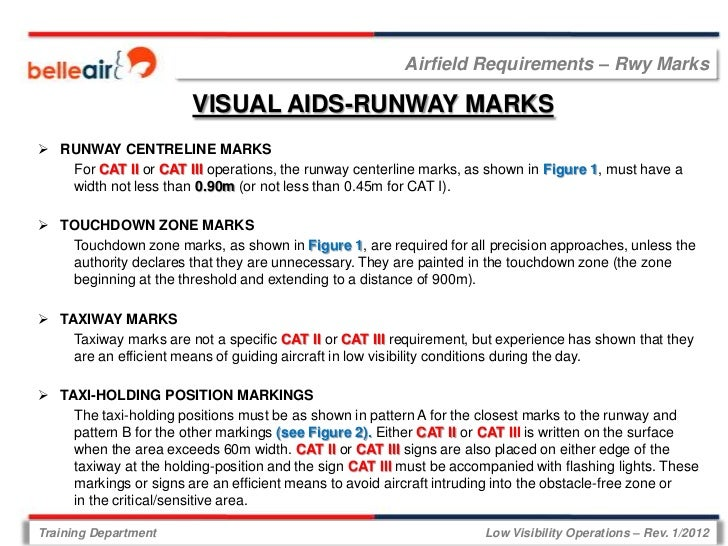 Airfield Requirements – Rwy Marks                        VISUAL AIDS-RUNWAY MARKS RUNWAY CENTRELINE MARKS   For CAT II or...
