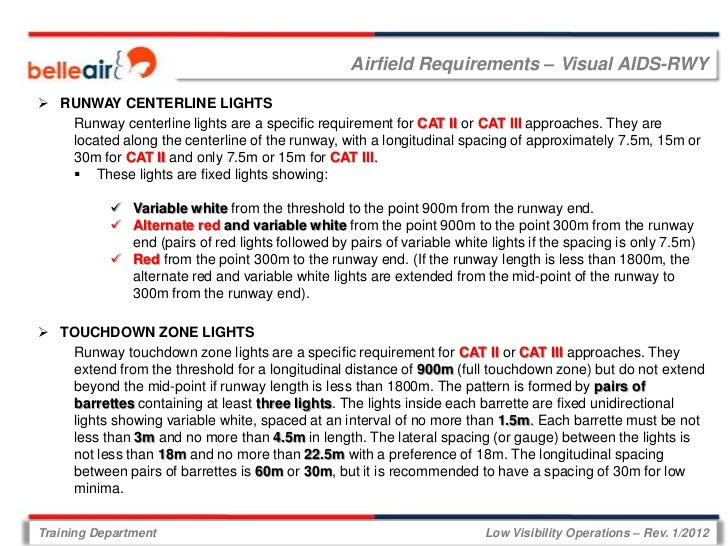 Airfield Requirements – Visual AIDS-RWY RUNWAY CENTERLINE LIGHTS   Runway centerline lights are a specific requirement fo...
