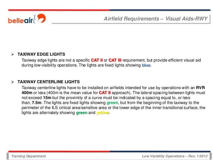 Airfield Requirements – Visual Aids-RWY TAXIWAY EDGE LIGHTS    Taxiway edge lights are not a specific CAT II or CAT III r...