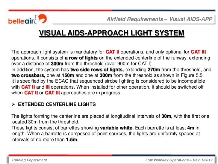 Airfield Requirements – Visual AIDS-APP              VISUAL AIDS-APPROACH LIGHT SYSTEMThe approach light system is mandato...