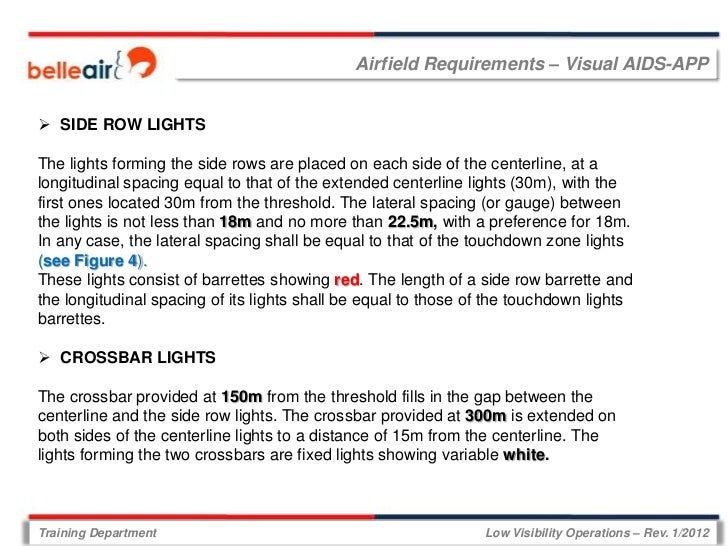Airfield Requirements – Visual AIDS-APP SIDE ROW LIGHTSThe lights forming the side rows are placed on each side of the ce...