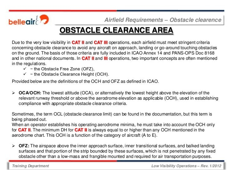 Airfield Requirements – Obstacle clearence                        OBSTACLE CLEARANCE AREADue to the very low visibility in...