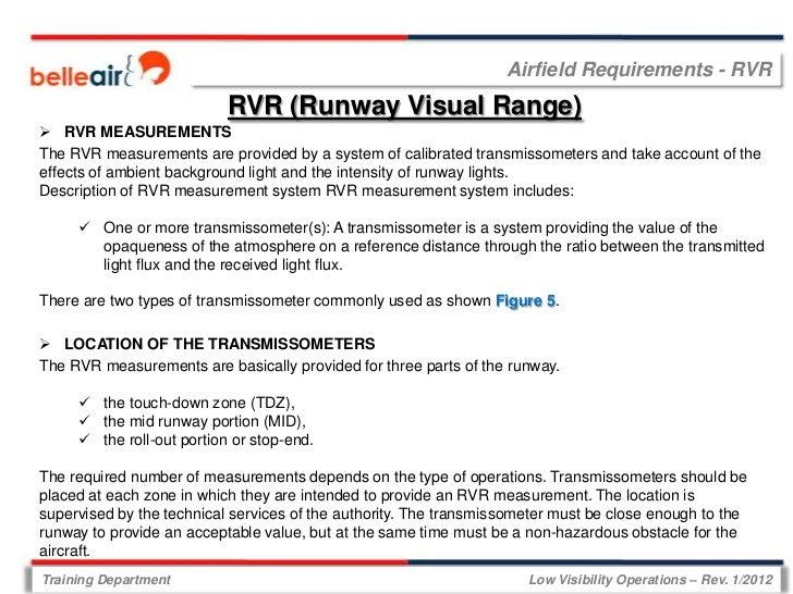 Airfield Requirements - RVR                           RVR (Runway Visual Range) RVR MEASUREMENTSThe RVR measurements are ...