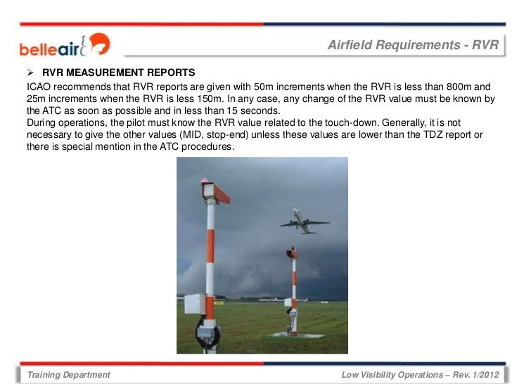 Airfield Requirements - RVR RVR MEASUREMENT REPORTSICAO recommends that RVR reports are given with 50m increments when th...